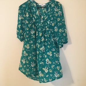 XXI green floral blouse for women